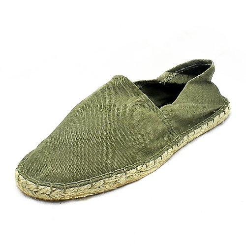 Mens Khaki Green flat canvas espadrilles casual shoes / pumps NEW