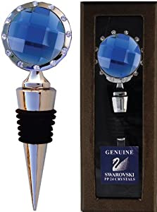 Chatt Blue Crystal Bottle Stopper With Swarovski Pp24 Crystals In Gift Box from Chatt