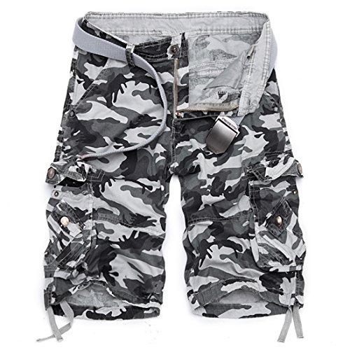 LIANIHK Uomo Shorts Washed Pantaloncini corti Bermuda Cargo short