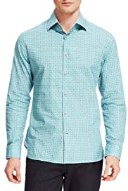 Autograph Pure Cotton Tile Print Slim Fit Shirt [T25-3900A-S]