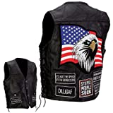 Mens Leather Concealed Carry Vest w/Patches-2X