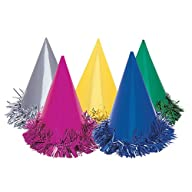 Fringed Foil Party Hats, Assorted 6ct