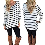 eshion Women's Round Neck Striped Str…