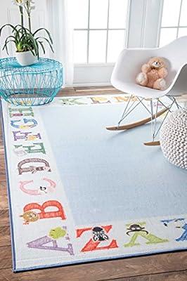 "nuLOOM Printed Alphabet Border Kids Nursery Area Rugs, 5' x 8' 2"", Baby Blue"