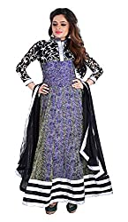 Arya Dress Maker Women's Net Unstitched Dress Material (Blue and Black)