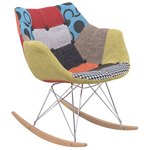 LeisureMod Willow Patchwork Fabric Eiffel Rocking Chair, Multicolor 0