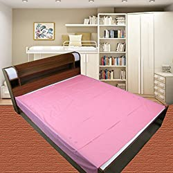 Thefancymart Pink Plain Double Bed Mat Sheet - 2