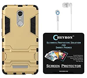 Chevron Rugged Terrain Armor Protective Shockproof Kick Stand Back Cover Case for Xiaomi RedMi Note 3 with HD Screen Guard & Chevron 3.5mm White Stereo Earphones (Gold)