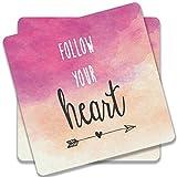 Colorpur Follow Your Heart Wooden Square Coaster (Set of 2) - 9cm x 9cm (Pink) | Artist: Adeela Abdul Razak
