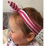 Banda ancha en elastano, diseño de rayas, color rosa y blanco