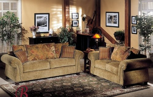 Buy Low Price Benchley 2PC Paris Caramel Fabric Sofa Couch Loveseat Set (VF_BCL-PARIS-CAMEL)