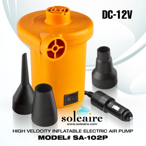 Soleaire Sa-102P Turbo 12V Dc Car Lighter Adaptor Inflator Inflatable Air Pump For Bed, Mattress And Water Inflatables, Tangerine