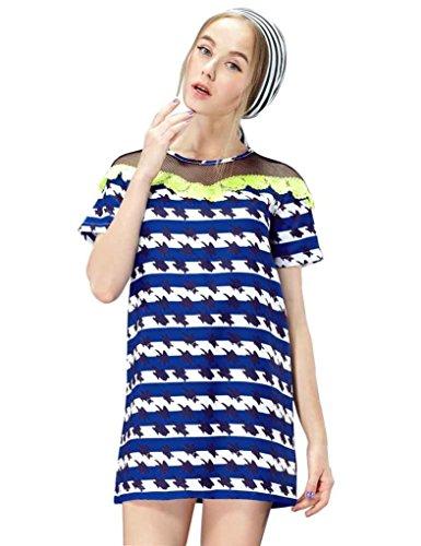 Elf Sack Womens Summer Dress Round Neck Short Sleeve Printing Lace Mesh Large Size Blue