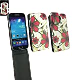 Emartbuy® Samsung Galaxy S4 I9500 Luxury PU Leather Flip Case/Cover/Pouch Pink Hawaiian Flowers And LCD Screen Protector