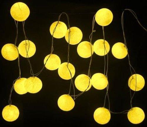 New Solar Powered Led Yellow Cotton Ball Lantern Fairy Light String
