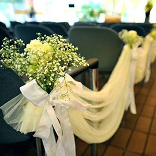 KING DO WAY 25 Yard Rouleau De Tulle Tissu Mariage Partie Décoration Organza Tulle Roll Wedding-Blanc