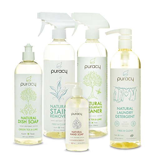Puracy Natural Home Cleaning Essentials Set - Hand Soap, Dish Soap, Laundry Detergent, Multi-Surface Cleaner, Laundry Stain Remover Bundle - Pack of 5 (Honest Multi Surface Cleaner compare prices)