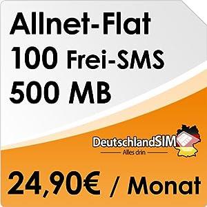 DeutschlandSIM Flat [SIM & Micro-SIM] - Monatlich kündbar (All-Net-Flat, 100 Frei-SMS, 500MB Daten Flat, 24,90 Euro/Monat) O2-Netz