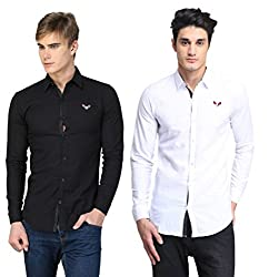 BRAVEZI Men's Black & White Solid Casual Slim Fit Shirt