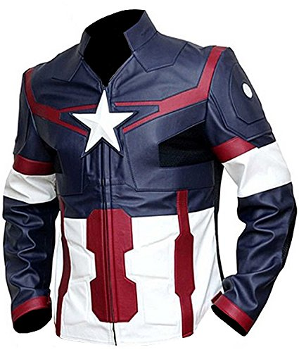 Hadiz Enterprises Chris Evans Captain America Blue Ultron Faux Jacket