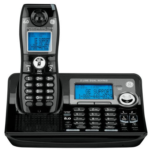 Ge Dect 6.0 Digital Black 2-Line Cordless Single Handset Phone With Answering System (28165Fe1)