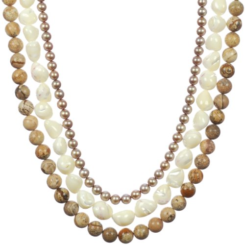 Gold Plated Sterling Silver 3-Row Light Champagne Freshwater Cultured Pearl, White Mother-Of-Pearl Nugget, and Picture Jasper Beads Necklace, 18-19