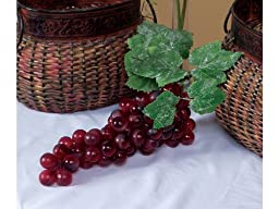 Pack of 6 Country Vineyard Artificial Purple Grape Clusters with Leaves 14\