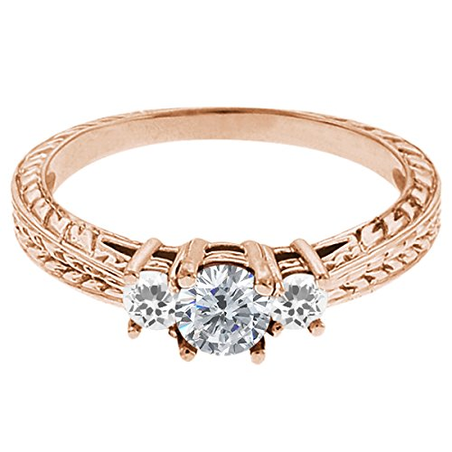 0.56 Ct Round G/H Diamond White Sapphire 18K Rose Gold 3-Stone Ring