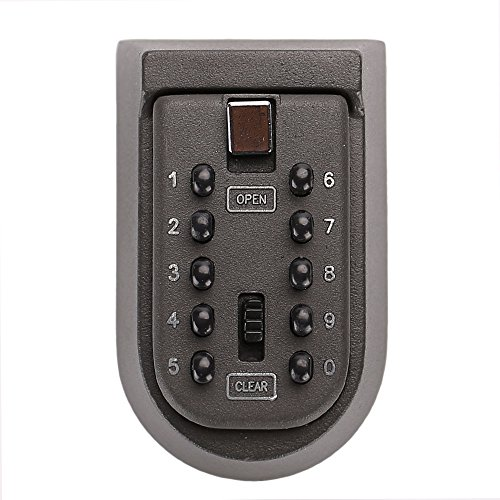 Tekmun Realtor Wall Mount Key Lock Box with 10-Digit Push-Button Combination is Weather Resistant for Indoors or Outdoors and Holds