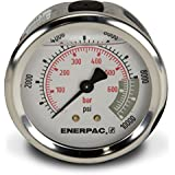 """Enerpac G2537R Hydraulic Pressure Gauge with Dual 0 to 10,000 PSI and 0 to 700 Bar Range, 2-1/2""""-Dia. Face, 1/4"""" NPTF Male Center-Rear Connection"""
