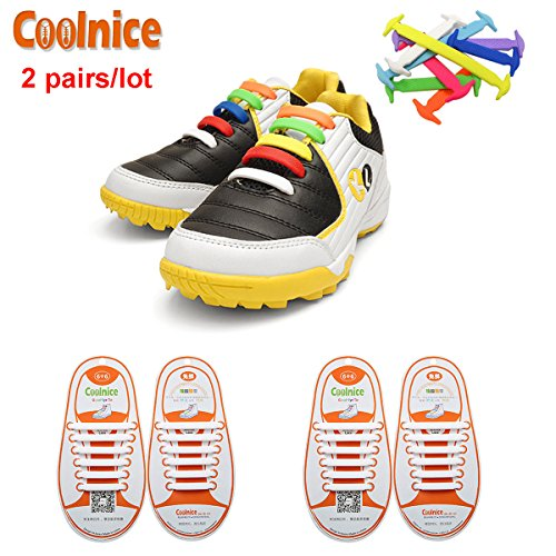 coolnicer-2-pairs-no-tie-shoelaces-for-kids-elastic-stretch-environmentally-safe-waterproof-silicon-