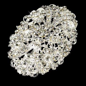 Elegant Crystal Oval Bridal Brooch Pin Hair Clip