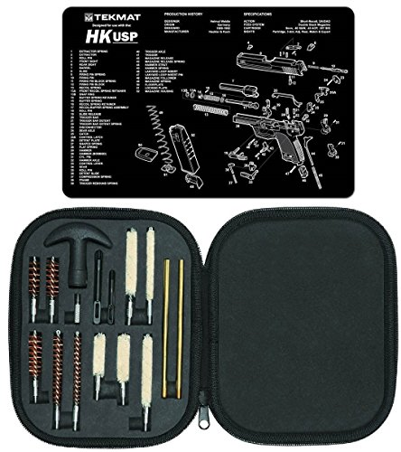 Ultimate Arms Gear Gunsmith & Armorer's Cleaning Work Bench Gun Mat Heckler & Koch H&K HK USP + Professional Tactical Cleaning Tube Chamber Barrel Care Supplies Kit Deluxe 17 pc Handgun Pistol Cleaning Kit in Compact Molded Field Carry Case for .22 / .357 / .38 / 9mm / .44 / .45 Caliber Brushes, Swab, Slotted Tips and Patches