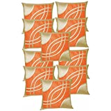 Eye Design Cushion Covers Combo Beige & Orange 40 X 40 Cms(10 Pcs Set)