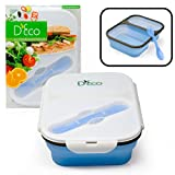 Silicone Collapsible Lunch Box with Two Compartments in Blue By D'Eco