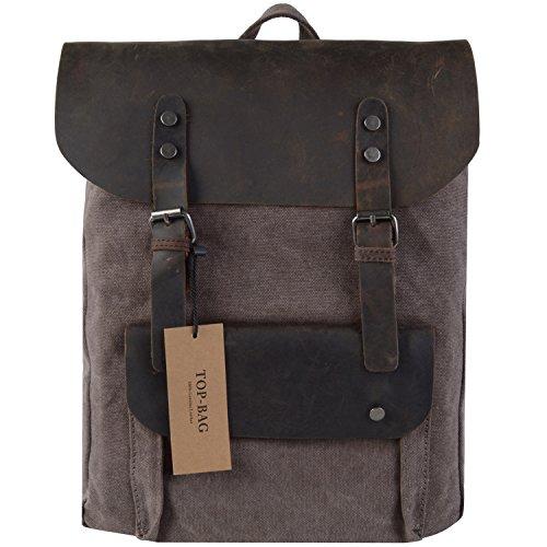 TOP-BAG®Women Vintage Canvas Leather Shoulder Bag Backpack Weekender Bag Rucksack Satchel, MC2166 (coffee)
