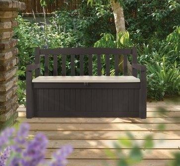 Cassapanca panchina resina effetto legno marrone giardino for Cassapanca per giardino