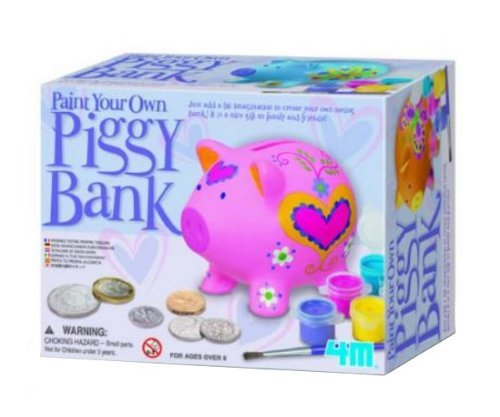 Paint Your Own Piggy Bank - Girls Boys Kids Children - Arts & Crafts Activity Set - Best Selling Birthday Present Gift Fun Toys & Games Idea Age 8+