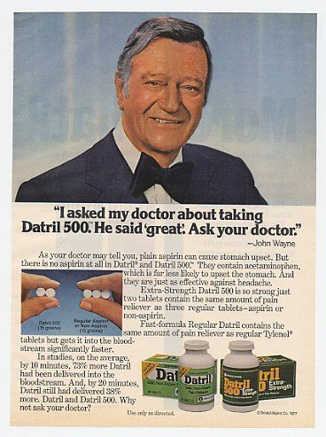 1978 John Wayne Photo Datril Pain Reliever Print Ad (12823)