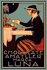 """Chocolate Amatller Luna Lady Drinking Tiffany Lamp Spain Spanish Coffee 16"""" X 24"""" Image Size Vintage Poster Reproduction"""