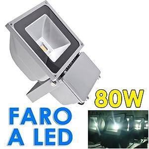 Faro faretto 80w a led x esterno alta luminosita for Illuminazione led casa esterno