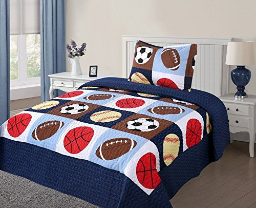 Twin Size 2 Pcs Quilt Bedspread Set Kids Sports Basketball Football Baseball Boys Girls (Basketball Quilt compare prices)