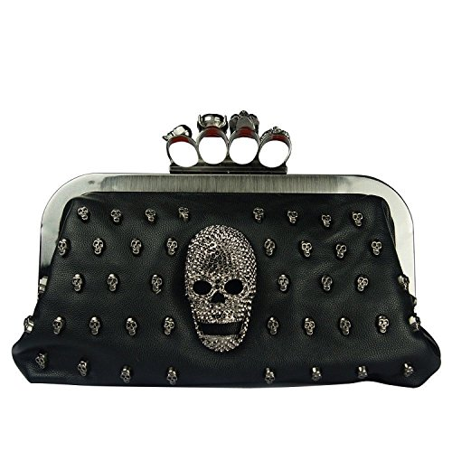 iMaySon(TM) Women Evening Clutch Bag with Black Satin Skull Ring Knuckle Duster Four Rings Party Night Club Bag Nice Design
