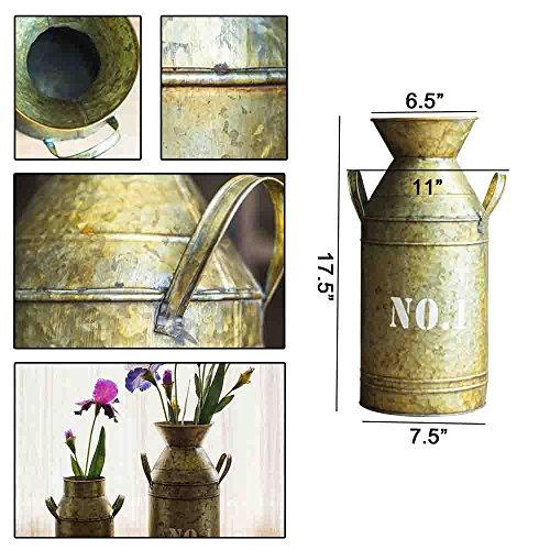 Watering Honey Galvanized Old Milk Can Country Rustic Primitive Jug Vase ~17.5 Inch 1
