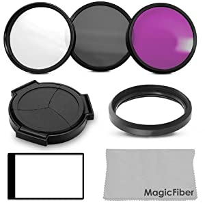 Accessory Kit for PANASONIC LUMIX DMC-LX7 - Includes: Auto Lens Cap (4.7mm deeper for use with Filters) + 37mm Lens Adapter Ring + + Filter Kit (UV, Polarizer, Fluorescent) + LCD Screen Protector + MagicFiber Microfiber Cleaning Cloth