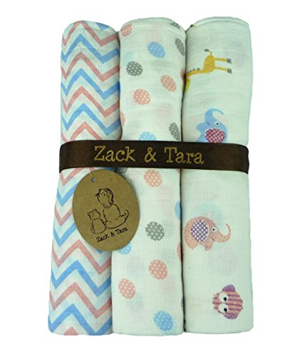 Zack & Tara Signature Swaddle 3-Pack - Adorable Animals, Pretty Polka & Chic Chevrons