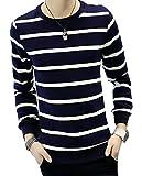 【PALERO・パレロ】 選べる6色 長袖 Tシャツ メンズ ボーダー シャツ トップス カットソー スタイル シルエット クルーネック 着回し 春 秋 楽 カジュアル (M, ダークブルーホワイト)
