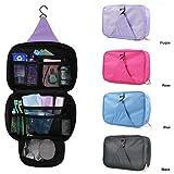 DIGITRONICS LTD Unisex Luxury Holiday Travel Wash Bag Toiletry ToiletriesnHanging MakeUp Mens Ladies Cosmetic Beauty Wash Bag Zipper Organizer Hanging Folding Kit (BLACK)