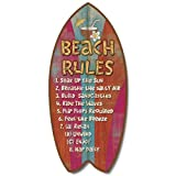"Weathered Tropical Beach Rules Mini Surfboard Plaque Home Décor Accent 11"" Sign"