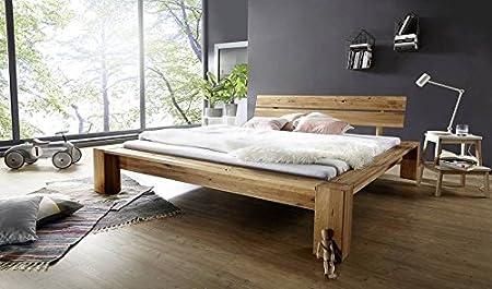 Bett Wildeiche mit Risse 160x200 natur geölt LEON modern